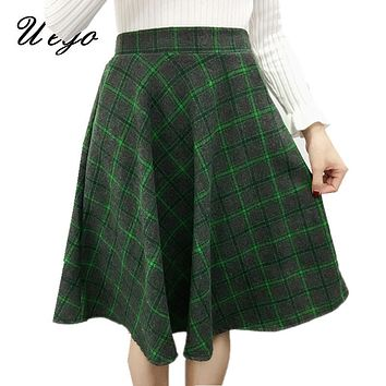 2017 Fashion England Style Woolen Plaid Autumn Winter Skirt High Waist Slim elastic Waist Women Casual Skirt Ladies Midi Skirt
