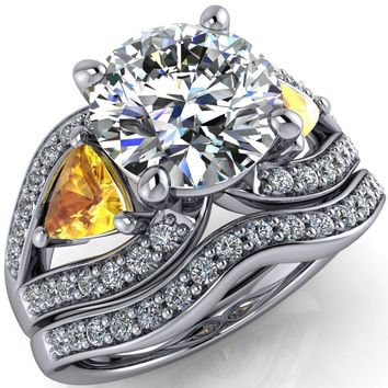 Kassandra Round Moissanite 4 Prong Trillion Yellow Sapphire Side Split Shank Accent Engagement Ring