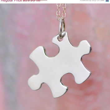 SALE Sterling Silver Puzzle Piece Necklace - Puzzle Jewelry - Sterling Pendant - Puzzle Necklace - Autism Awarness