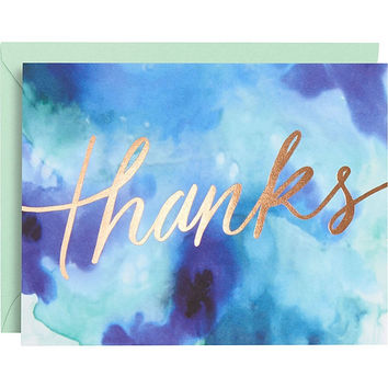 Gold Foil Blue Watercolor Thank You Notes