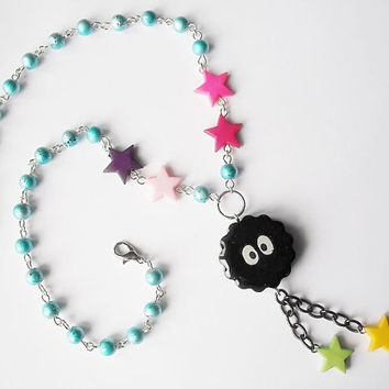 Kawaii Soot Sprite beaded resin colorful charm necklace, Totoro, Spirited Away inspired, Studio Ghibli anime, girl gift, gamer, geek,