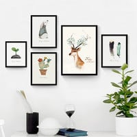 Floral animal Deer Canvas Art Print painting Poster, Wall Pictures for Home Decoration, wall paintings Frame not include