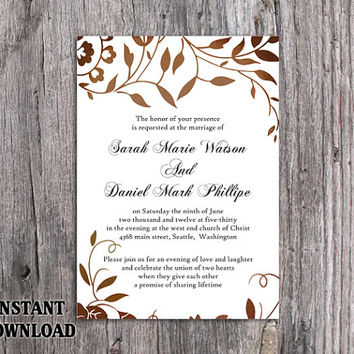 DIY Wedding Invitation Template Editable Word File Instant Download Printable Leaf Invitation Rustic Gold Invitation Elegant Invitation
