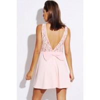 baby pink lace bow tie backless A line skater retro cocktail dress