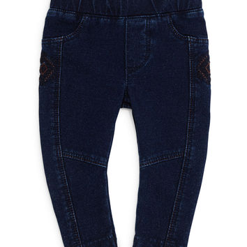 Embroidered Jean Leggings, Indigo, Size 3-6,