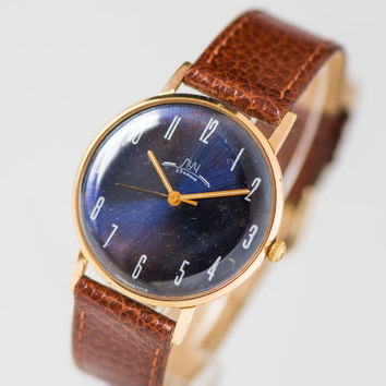 Unique men's watch Ray, slim men wristwatch gold plated AU 10, navy face dress watch, unisex watch gift, premium leather strap new
