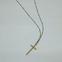 Minimal Rosary Necklace  // Long Cross Necklace //  Antique Bronze Cross with Extra long necklace option