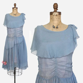 Vintage 20s Silk DRESS / 1920s Blue Crepe Dropwaist Capelet Party Dress XS
