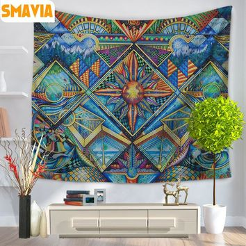 SMAVIA Indian Style Wall Hanging Tapestry Soft Shawl Beach Towel Picnic Mat Tablecloth 150*200 cm/150*130cm Ceiling Decor 1pcs