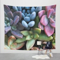 Colorful Succulents Wall Tapestry by Lisa Argyropoulos | Society6