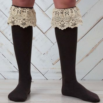 Fold-over Lace Boot Socks | Altar'd State