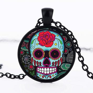Mexican sugar skull pendant day of the dead necklace antique bronze silver chain sugar skull glass jewelry necklace classic 2017