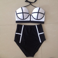 Zipper High Waisted Swimwear Push Up Neoprene Bikini Set