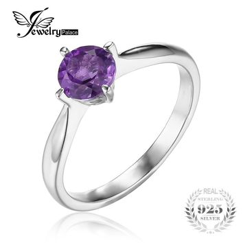 JewelryPalace Classic Round 0.8ct Genuine Purple Amethyst Solitaire Engagement Ring For Women 925 Sterling Silver Jewelry Gift