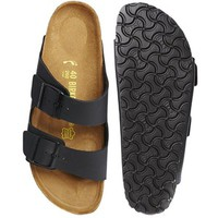 Birkenstock Arizona Black Birko Flor Narrow Fit Flat Sandals