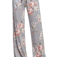 Floral Rose Casual Lounge Pants in Grey
