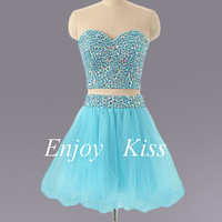 Hotsales short prom dress two pieces of dresses hot tulle cocktail dresses  short prom dress short homecoming dresses sexy cocktail dresses