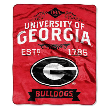 Georgia Bulldogs NCAA Royal Plush Raschel Blanket (Label Series) (50x60)