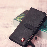 Leather men long wallet clutch black vintage zip phone clutch men purs | EverHandmade