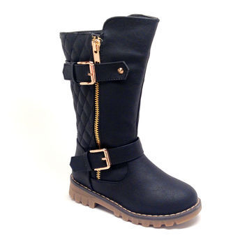 Black Quilt Design Boot for Girls with Side Zipper