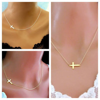 Sideways Cross necklace/pendant worn BOTH slant and centered Silver Gold Turquoise Easter Mother's Day