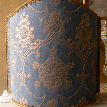 Venetian Lamp Shade in Fortuny Fabric Blue & Silvery Gold Veronese Pattern Half Lampshade - Handmade in Italy