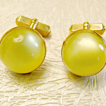 Vintage Swank Cuff Links, Yellow Moonglow Round Domes, Gold Tone Cufflinks, Signed, Wedding, Formal
