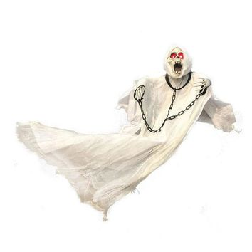 DCCKF4S 36inch 90cm Tall White Halloween Decoration Hanging Ghost with Chain Light up Eyes Sound and Sensor for Halloween Props