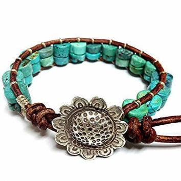 Southwestern Turquoise Leather Bracelet with fine solid silver Karen Hill flower clasp,Single Wrap bracelet, Genuine Turquoise Bracelet,