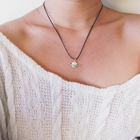 Planet Saturn Charm Choker Necklace - Adjustable Waxed Cotton Cord