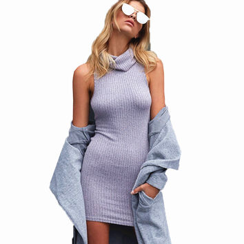Smoves Vintage Marled Wool Blended Fold Over High Neck Ribbed Women Bodycon Dress Autumn Winter Knitted Sweater Casual Dresses