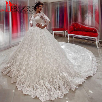 Arabic Ball Gown Wedding Dresses With Sleeve 2017 Romantic Appliques Full Lace Royal Train Wedding Bridal Gowns Lebanon LY108