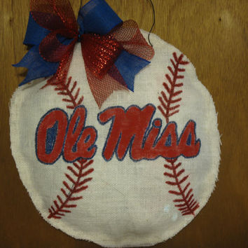 Ole Miss Burlap Baseball Door Hanger