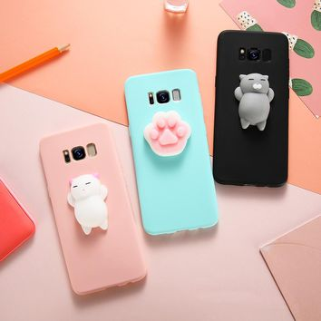 3D Cute Cat Squishy Case For Galaxy Note 8 S8 S8 Plus