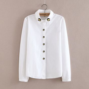 Cute Cat Embroidery Women Blouses Spring Autumn Shirts Turn-Down Collar Ladies Blouse Long-Sleeve Female Office Shirt Women Tops