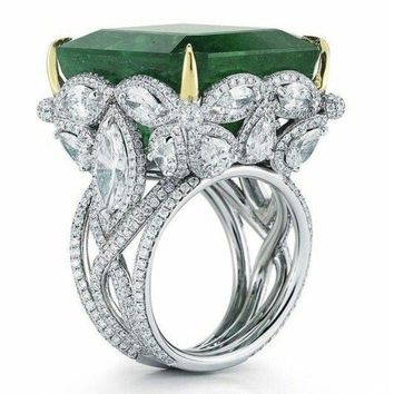 Womens BIG ROCK BLING RING- 5 CT Beautiful Green Emerald zircon Ring