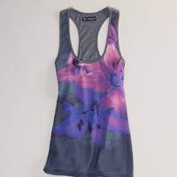 AE Floral Mixed Media Tank - American Eagle Outfitters