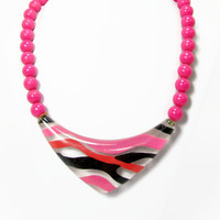 Vintage Hot Pink Lucite Necklace, 1980s Jewelry, Pink Black Bead Necklace, Vintage Jewelry, 80s Necklace, Halloween Necklace, Necklace