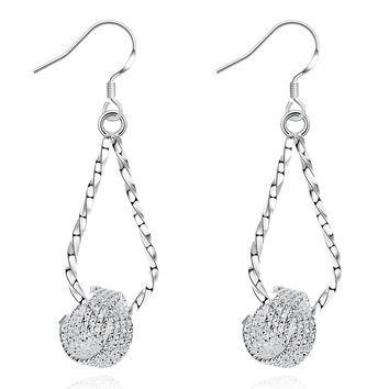 18K White Gold Plated Love Knot Drop Earring