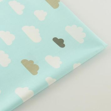 Lovely Color Clous Designs Light Blue Cotton Fabric Twill Scrapbooking Home Textile Quilting Patchwork  Baby Bedding Telas CM