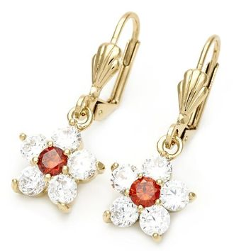 Gold Layered 5.028.016 Dangle Earring, Flower Design, with Garnet and White Cubic Zirconia, Polished Finish, Golden Tone