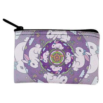 DCCKJY1 Mandala Trippy Stained Glass Easter Bunny Coin Purse