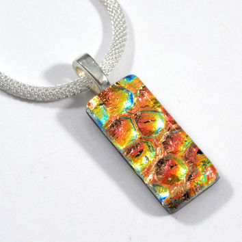 Orange, Coral, Yellow and Gold Pendant Necklace, Fused Dichroic Glass Jewelry, Thanksgiving Jewelry