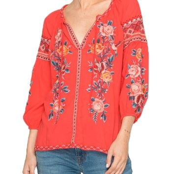 Johnny Was Women's Nadia Peasant Blouse Tropical Punch