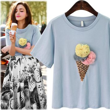 Sweet Girls Summer Ice Cream Sequined Printing Light Blue T-shirt Harajuku Kawaii Women Short Plush Ball O Neck T-shirt 5XL Plus