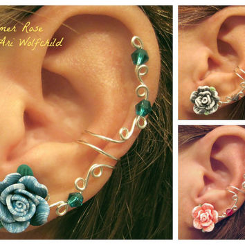 "Sale Prom 1 Pair Cartilage Ear Cuffs ""Summer Rose"" Color Choices Wedding Bridal No Piercing Helix Conch 2 Cuffs"