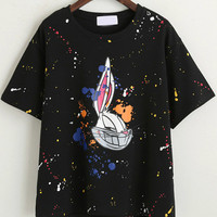 Black Cartoon Character Print T-Shirt