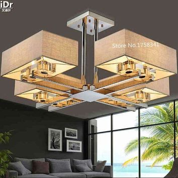 living room Crystal chandeliers rectangle rectangular lights new Chinese modern minimalist creative stainless steel led lamps