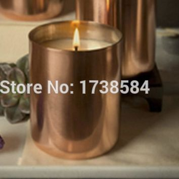 Copper plating cup,wax candle cup, candle holder,brass metal, soy candle vessel copper candle cup