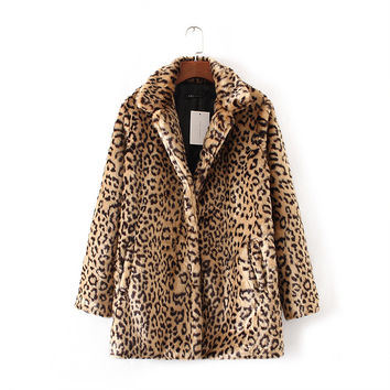 Lleopard Faux Fur Coat